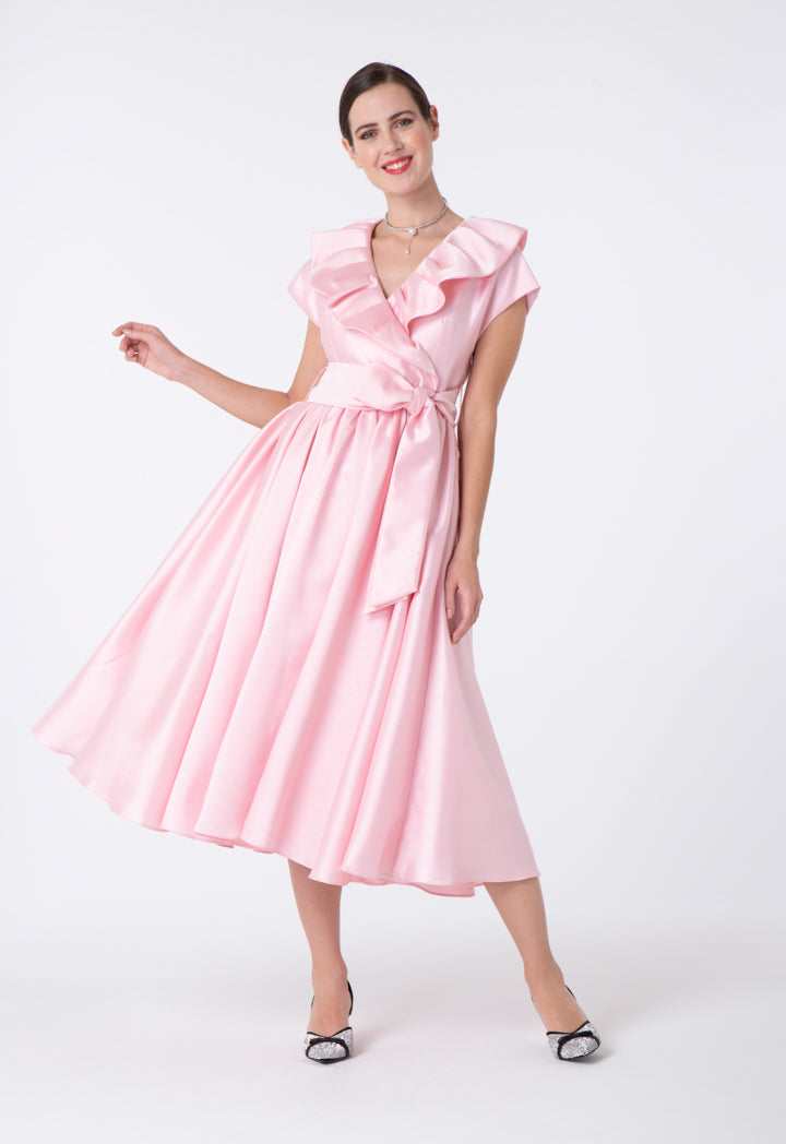 Choice V-Neck Ruffled Dress Blush
