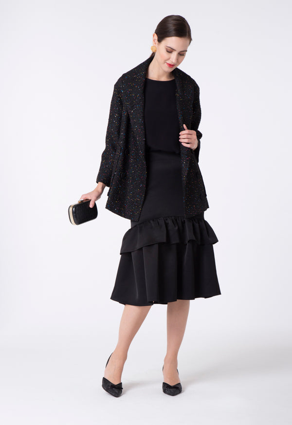 Choice A-Line Layer Frill Skirt Black