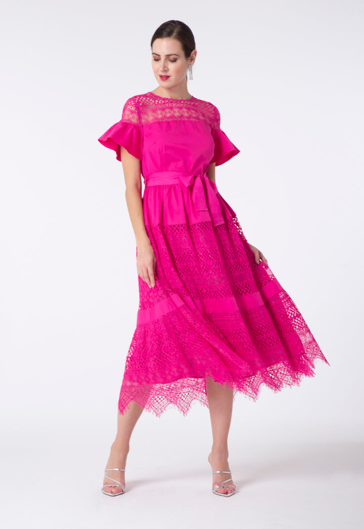 Choice Lace Trim A-Line Dress Fuchsia