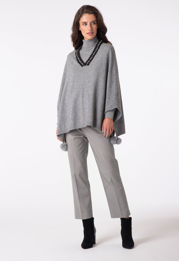 Choice Stud Embellish Knitted Top Grey