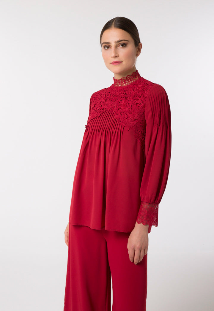 Choice Floral Lace Embroidered Blouse Red