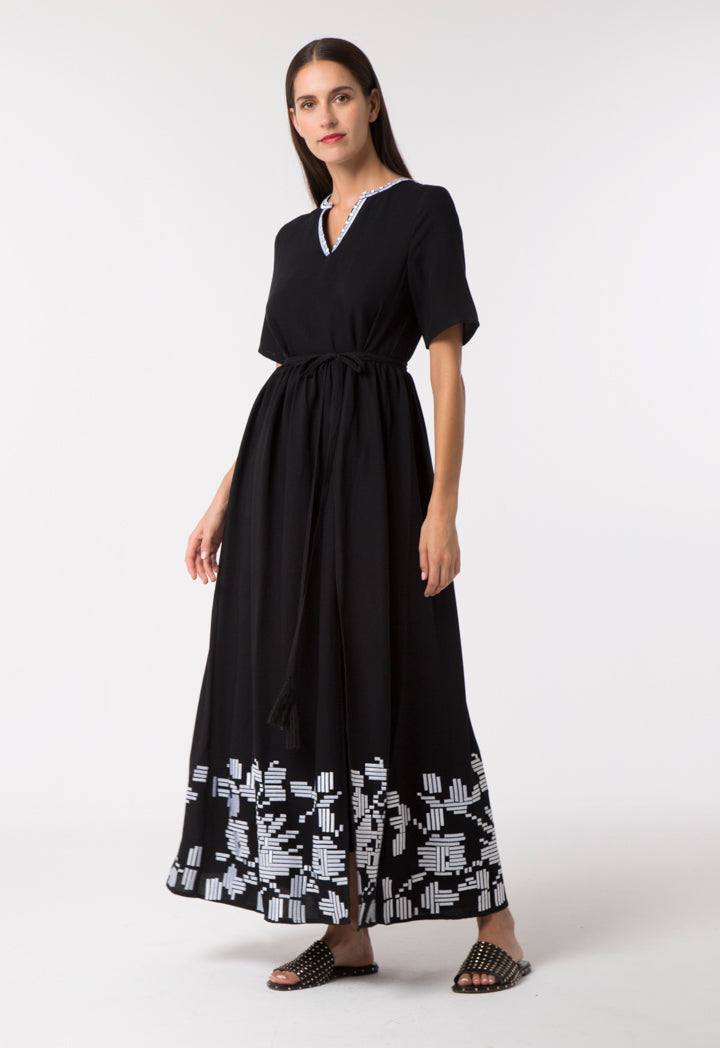 Choice Overlay Ethnic Embroidered Dress Black
