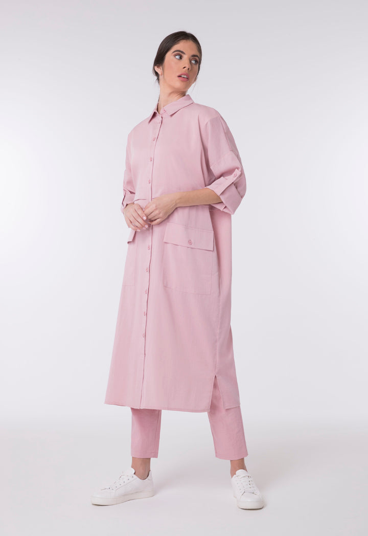 Choice Patch Pocket Midi Shirt Dress  Blush - Wardrobe Fashion