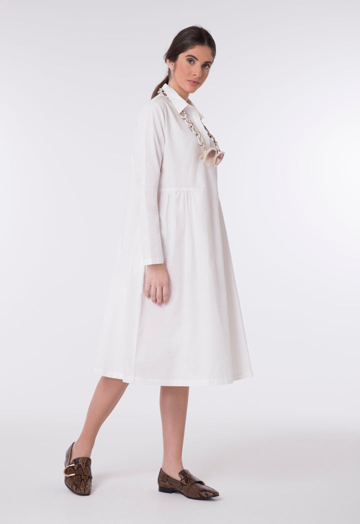 Choice Oversized A-Line Shirt Dress White - Wardrobe Fashion