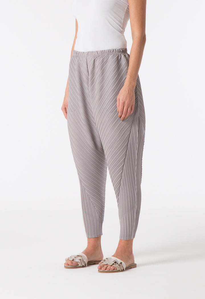Choice Electric Mixed Pleats Harem Pants Grey