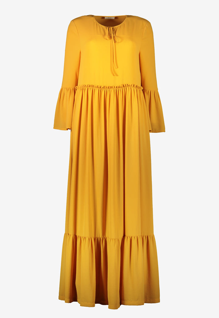 Choice Flared Gathered Dress Yellow