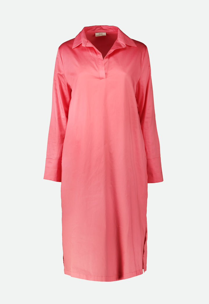 Choice Oversized V-Neck Collar Dress Coral - Wardrobe Fashion