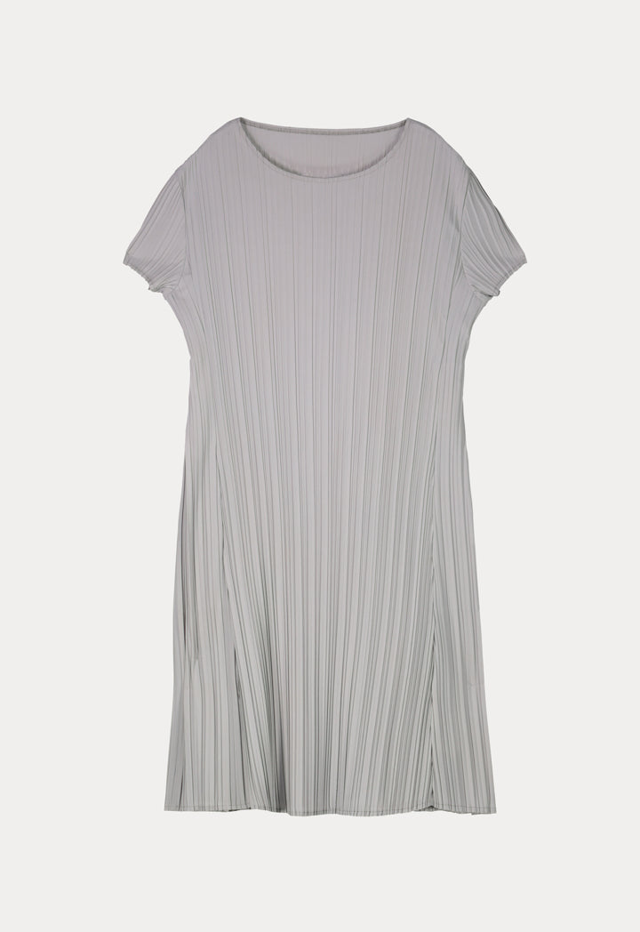 Choice Electric Pleated Casual Dress Grey