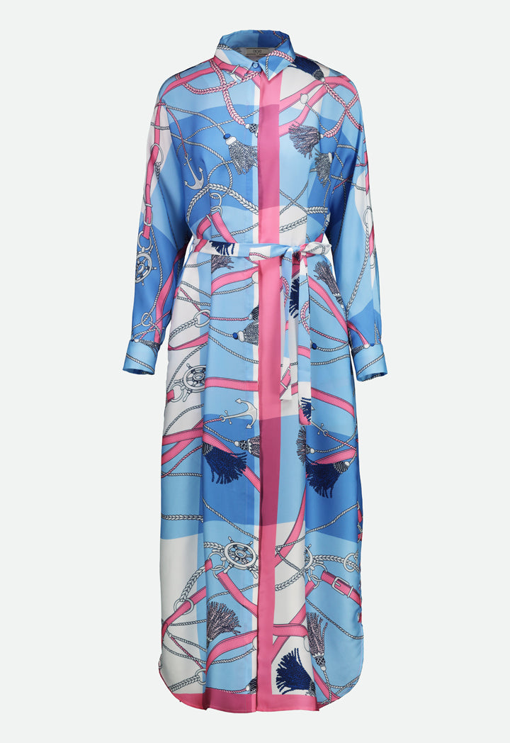 Choice Printed Wrap Satin Dress Pink - Wardrobe Fashion