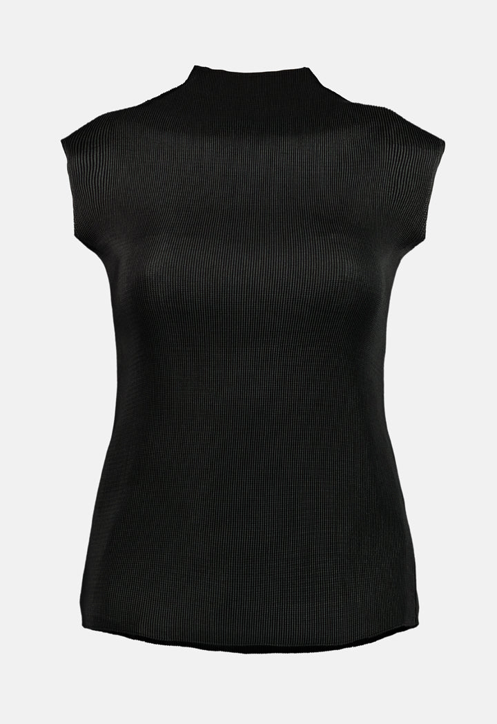 Choice Electric Pleats Sleeveless Top Black