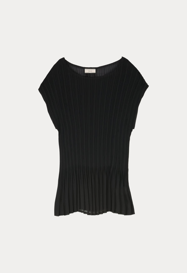 Choice Pleated Drop Shoulder Top Black