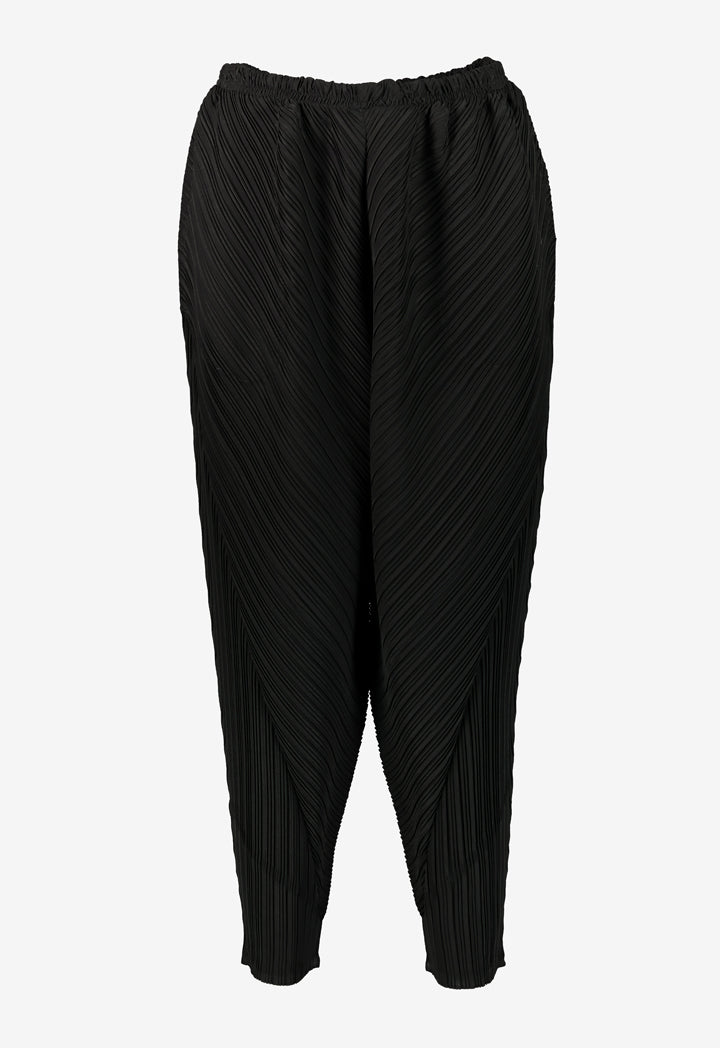 Choice Electric Mixed Pleats Harem Pants Black