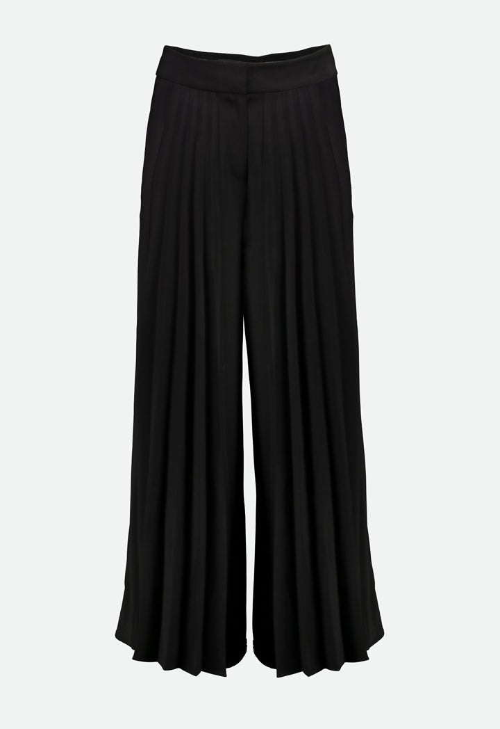 Choice Front Pleated Wide Leg Trouser Black - Wardrobe Fashion