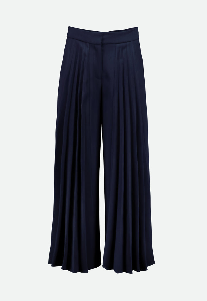 Choice Front Pleated Wide Leg Trouser Navy - Wardrobe Fashion