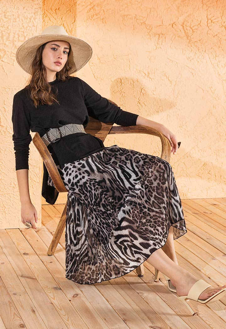 Choice Pleated Leopard Print Skirt Printed Multi - Wardrobe Fashion
