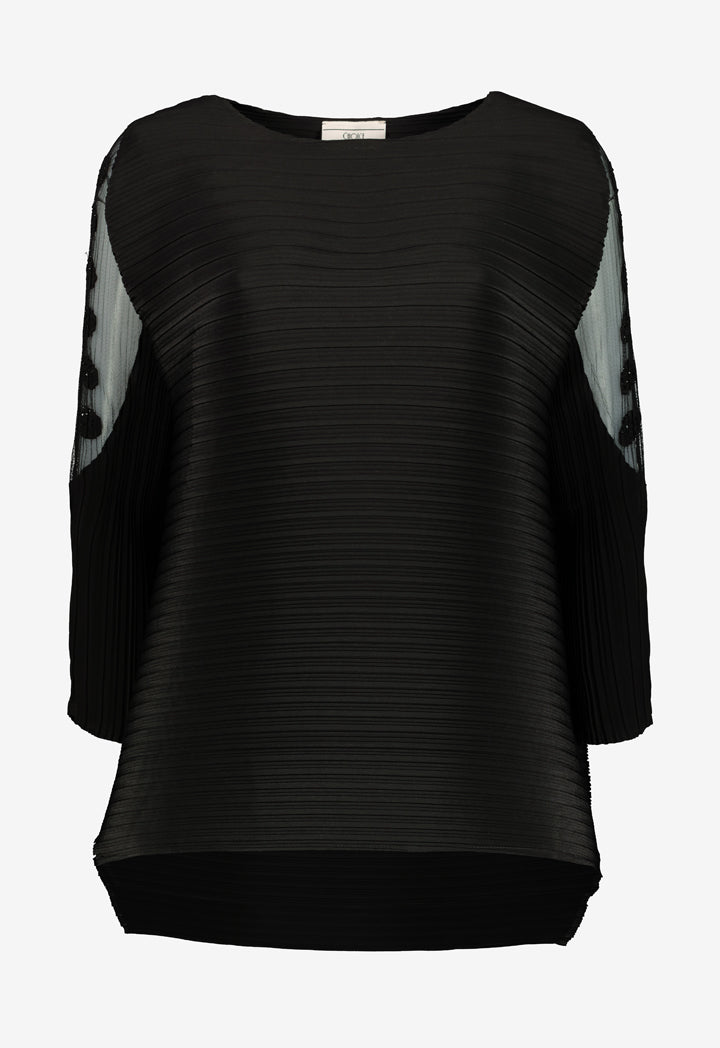 Choice Micro Pleated Blouse Black