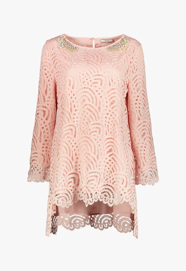 Choice Lace Stud Blouse Blush
