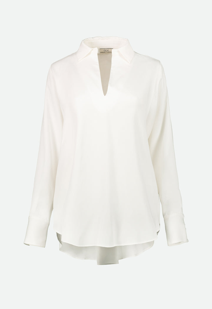 Choice Rounded High Low V Neck Blouse Off White - Wardrobe Fashion