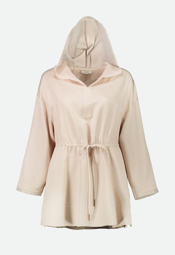 Choice Hooded Drawstring Waist Blouse Beige - Wardrobe Fashion