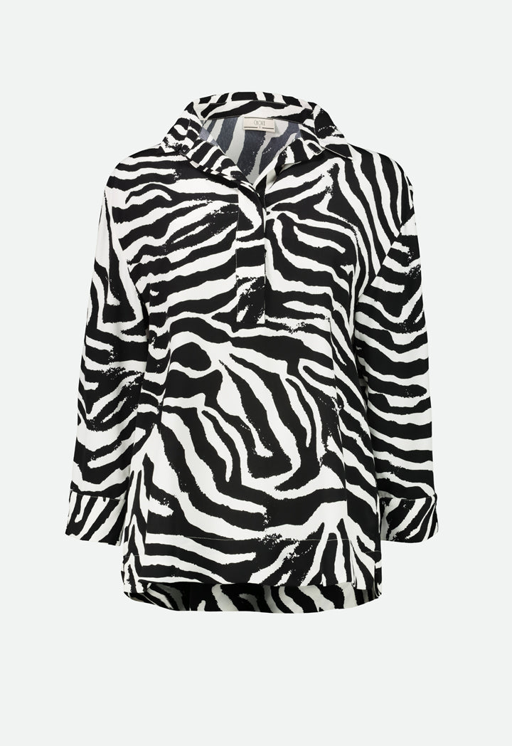 Choice Zebra Printed Blouse Multicolor - Wardrobe Fashion
