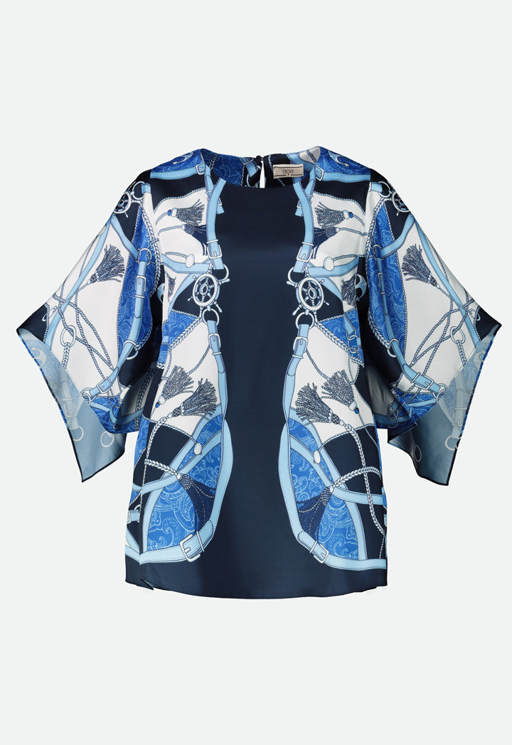 Choice Printed Butterfly Sleeve Blouse Navy - Wardrobe Fashion