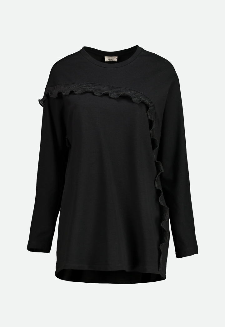 Choice Pleated Ruffle Trim Blouse Black - Wardrobe Fashion
