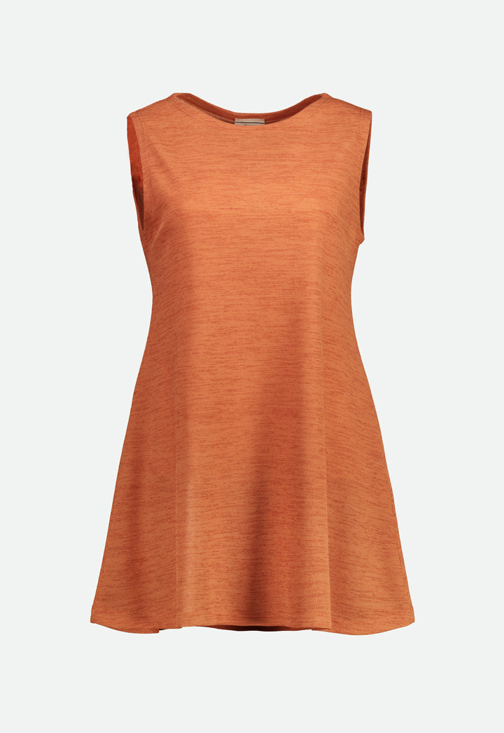 Choice Loose Fit Sleeveless Knit Blouse Brick Orange - Wardrobe Fashion