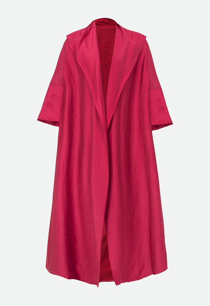 Choice Open Front Oversized Maxi Outerwear Burgundy - Wardrobe Fashion