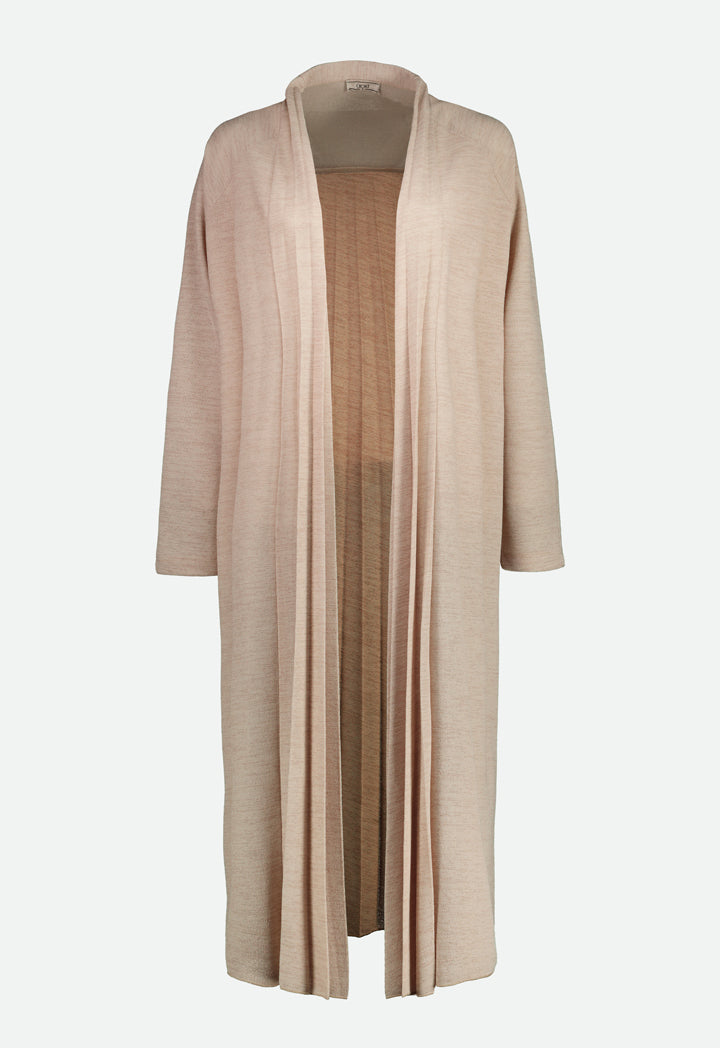 Choice Textured Back Pleats Outerwear Beige - Wardrobe Fashion