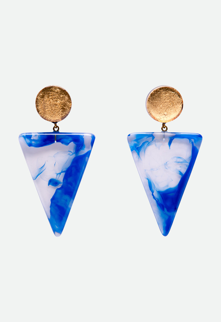 Choice Pigment Pattern Triangle Earrings Gold - Blue - Wardrobe Fashion
