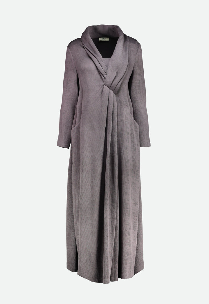 Choice Textured Fabric V-Neck Dress Grey