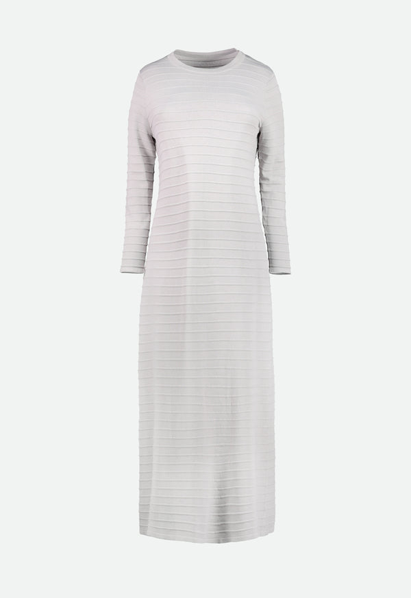 Choice Knitted Embossed Stripe Dress Grey