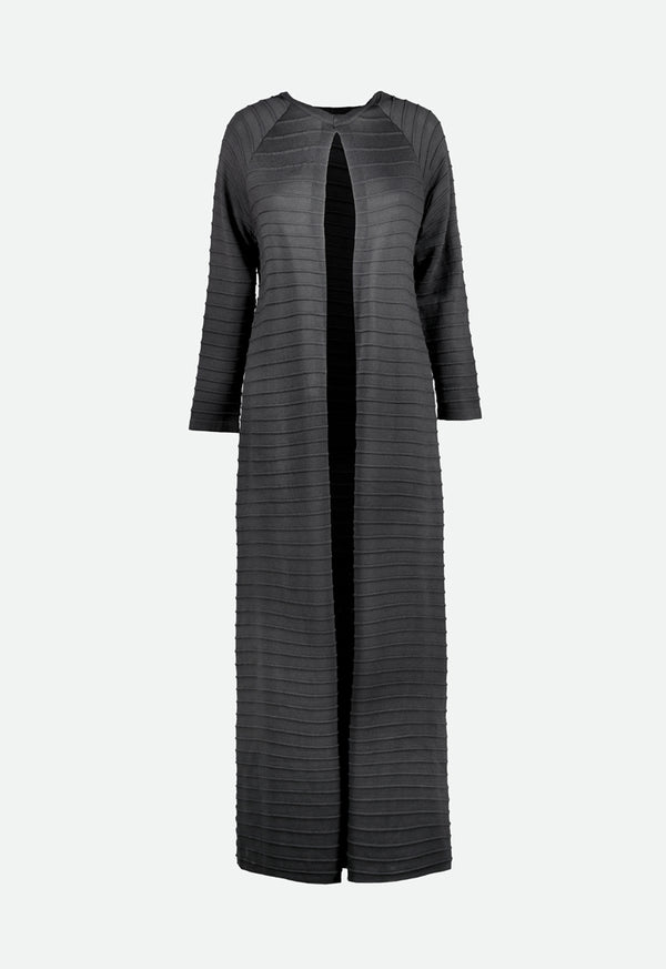 Choice Knitted Embossed Stripe Outerwear Black