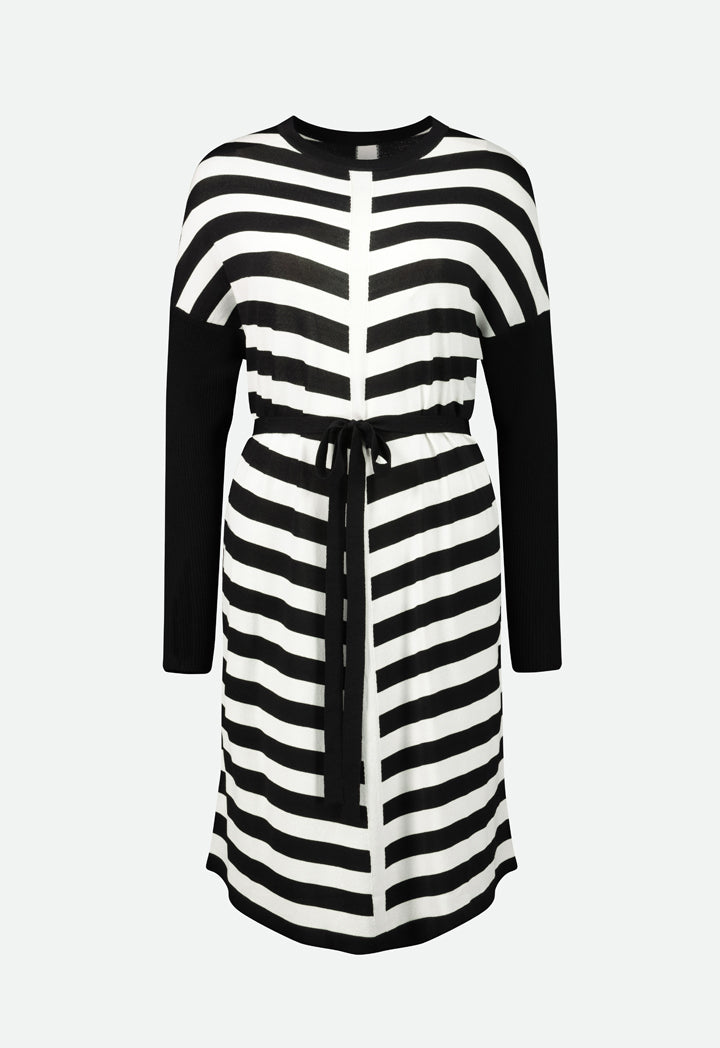 Choice Belted Striped Knitted Dress Black/Offwhite