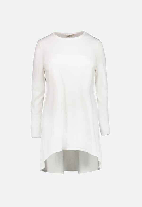 Choice High-Low Knit Top  Off White