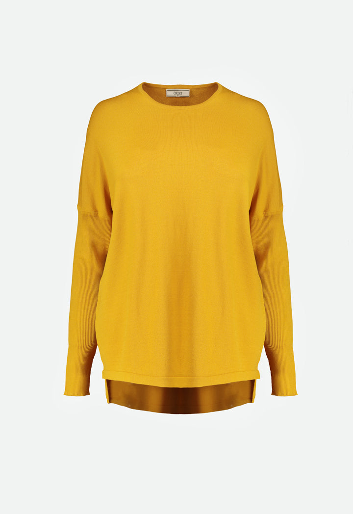 Choice High Low Knit Top Mustard