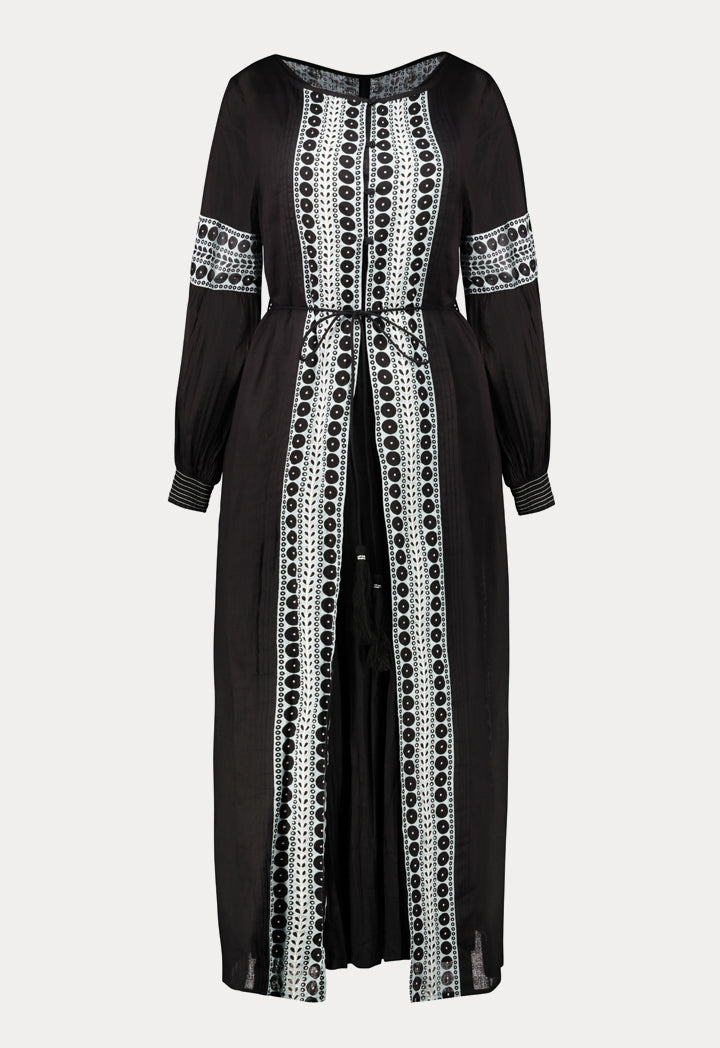 Choice Printed Beadwork Abaya Black - Wardrobe Fashion