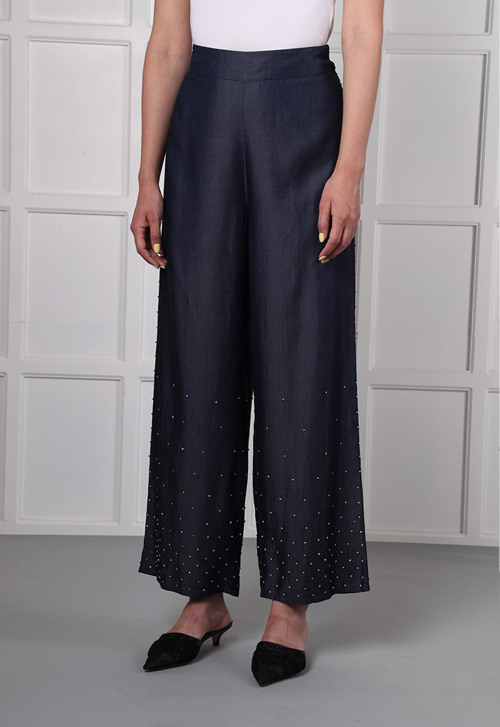 Choice Studded Wide Leg Pants Denim - Wardrobe Fashion