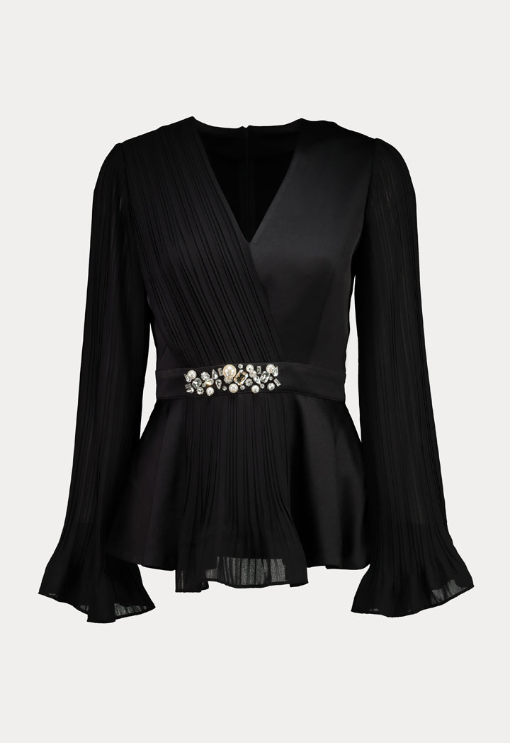 Choice Pleated Chiffon Blouse Black - Wardrobe Fashion