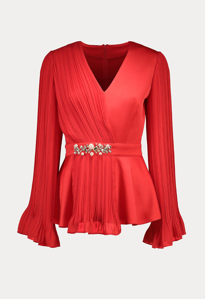 Choice Pleated Chiffon Blouse Red - Wardrobe Fashion