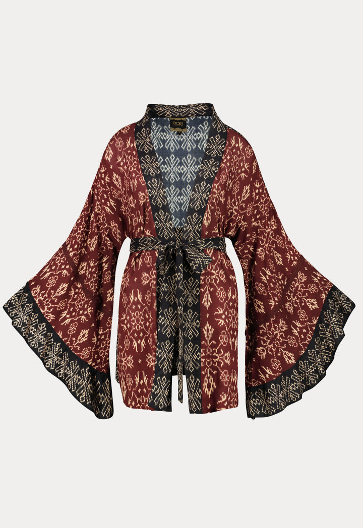 Choice Geometric Print Kimono Cardigan Burgundy - Wardrobe Fashion