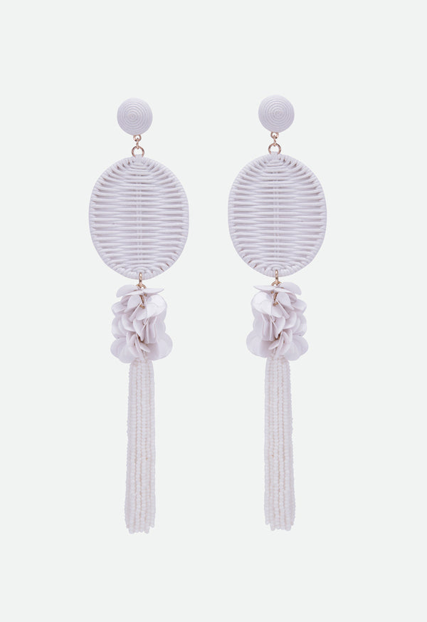 Choice Cord And Seedbead Drop Earrings Offwhite - Wardrobe Fashion