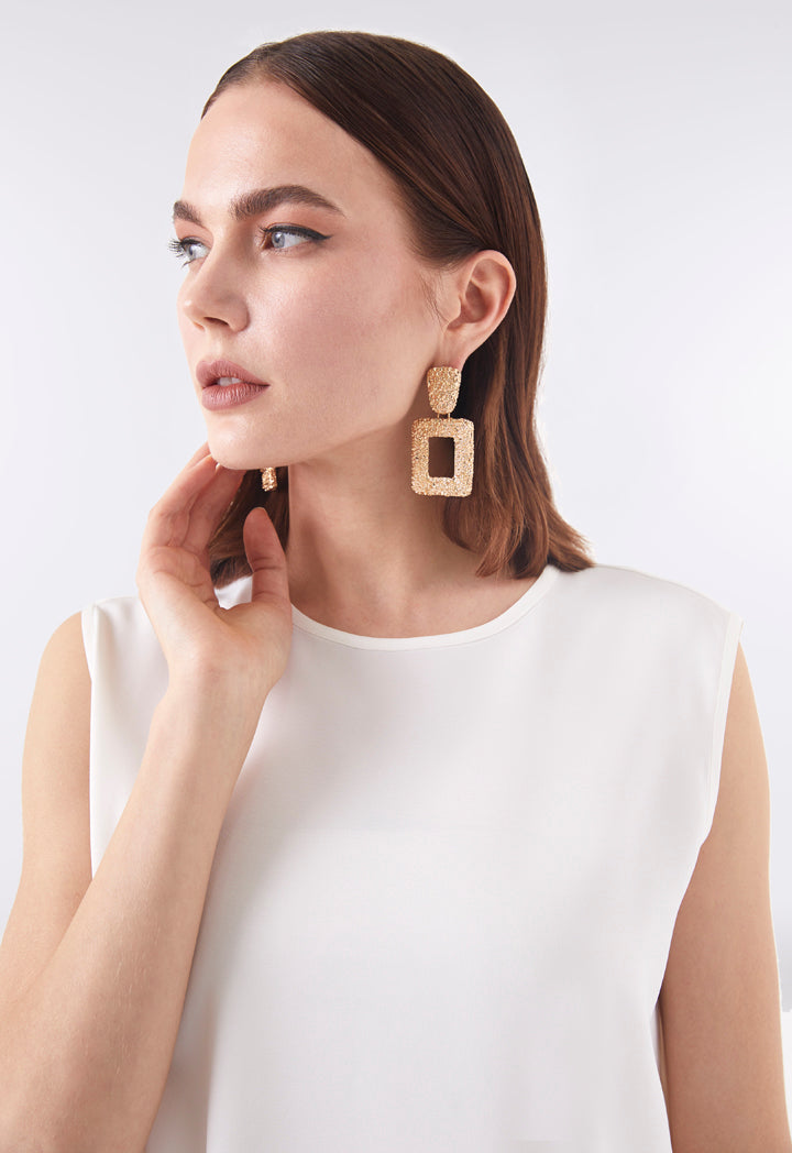 Choice Hollow Geometric Square Dangle Earrings Gold - Wardrobe Fashion