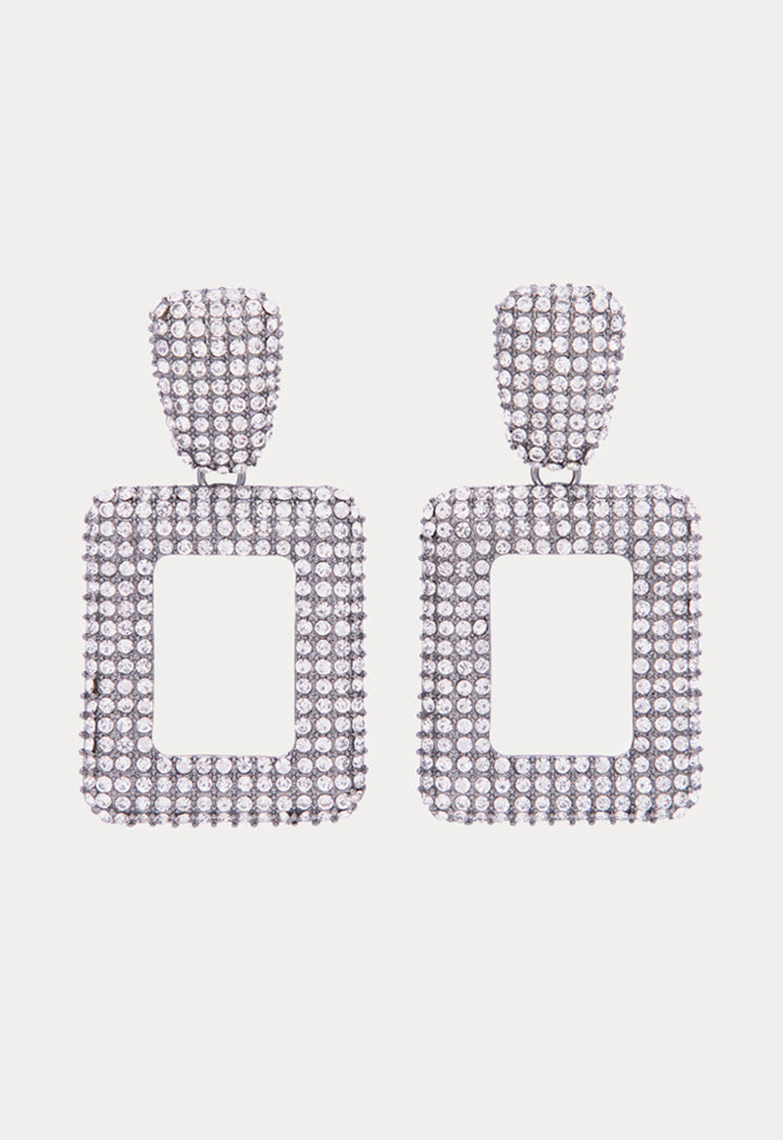 Choice Hollow Geometric Square Dangle Earrings Silver - Wardrobe Fashion