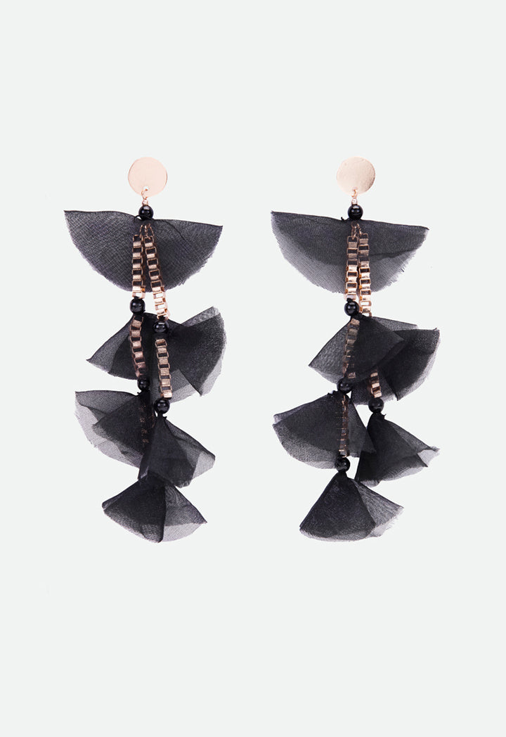 Choice Box Chain With Mesh Fabric Earrings Black - Wardrobe Fashion