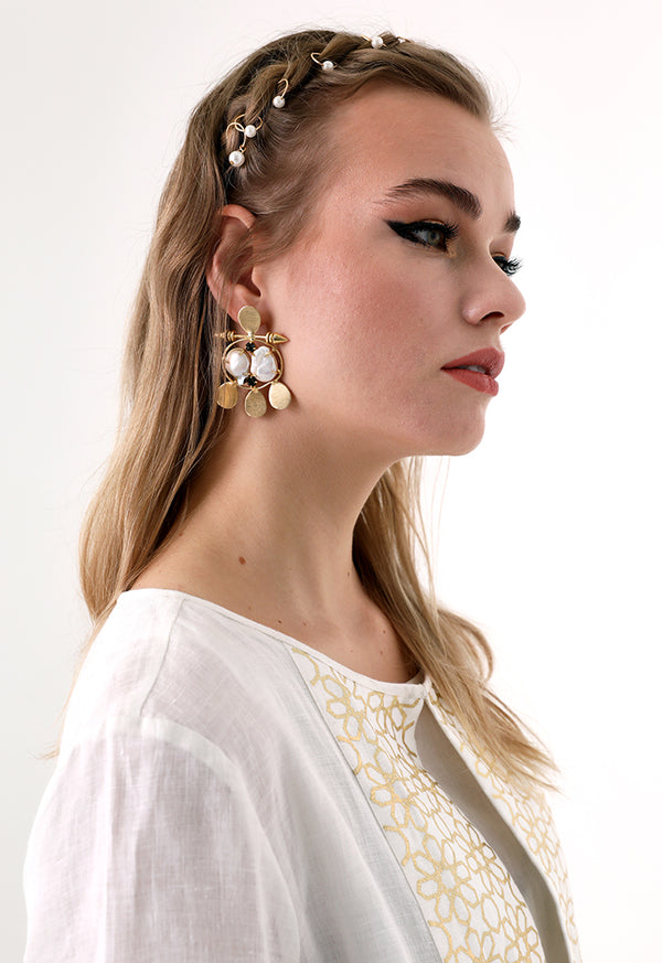 Choice Pearl Detail Statement Earrings Gold - Wardrobe Fashion