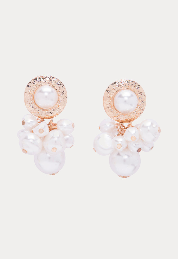 Choice Multi Pearl Bead Earrings Gold-Offwhite - Wardrobe Fashion