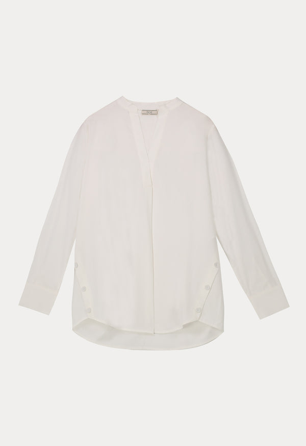 Choice Basics Long Sleeve Button Detail Shirt Off White