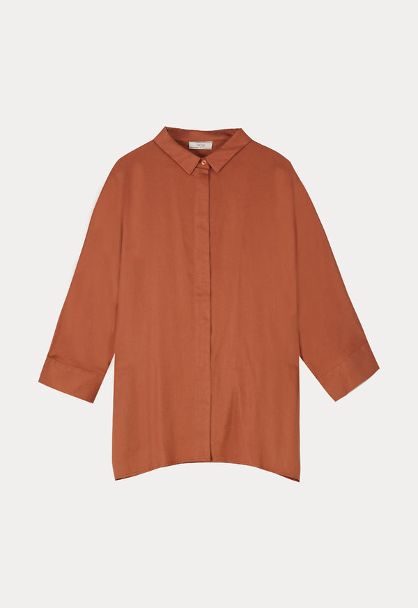 Choice Basics Long Sleeve Comfortable Fit Shirt Terracotta