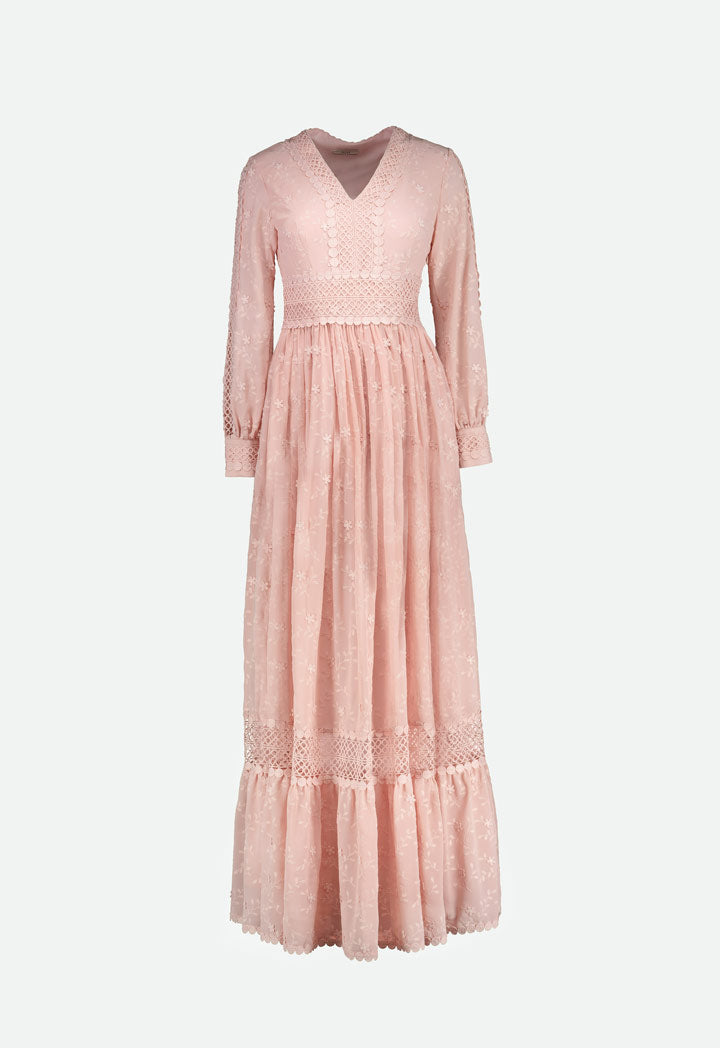 Choice Elegant Floral Embroidery Dress Blush Light